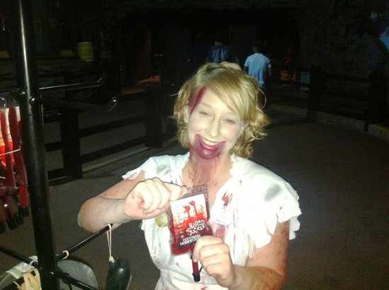 Snack options at Halloween Horror Nights: Blood bags for sale.