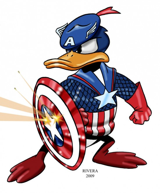Donald as Captain America. Courtesy of BadHaven.com.