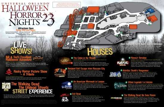 Halloween Horror Nights 2013 event map.