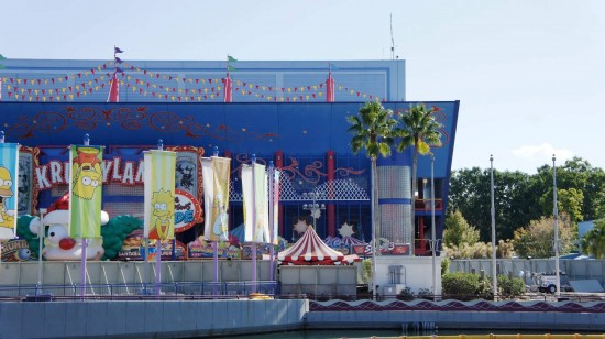 The waterfront area in front of The Simpsons Ride currently under construction.