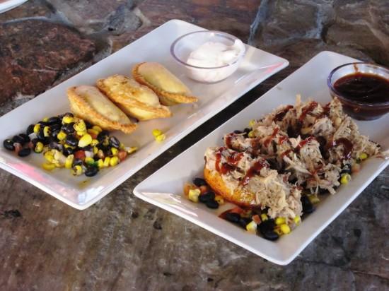 Bahama Breeze: Empanadas and BBQ pork & plantains.