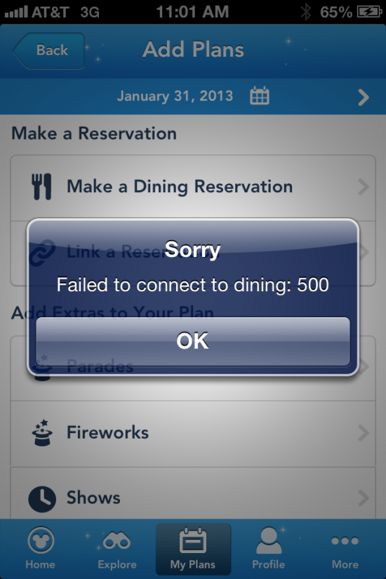My Disney Experience iPhone app error.