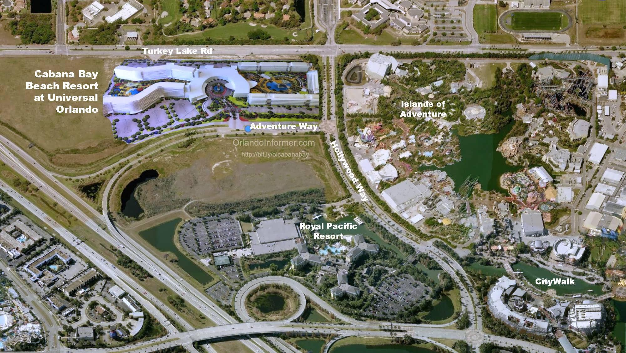 Cabana Bay Beach Resort composite map.
