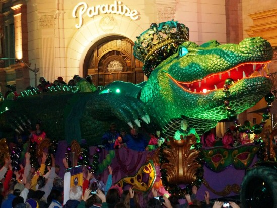 Riding a float at Universal Mardi Gras 2013.
