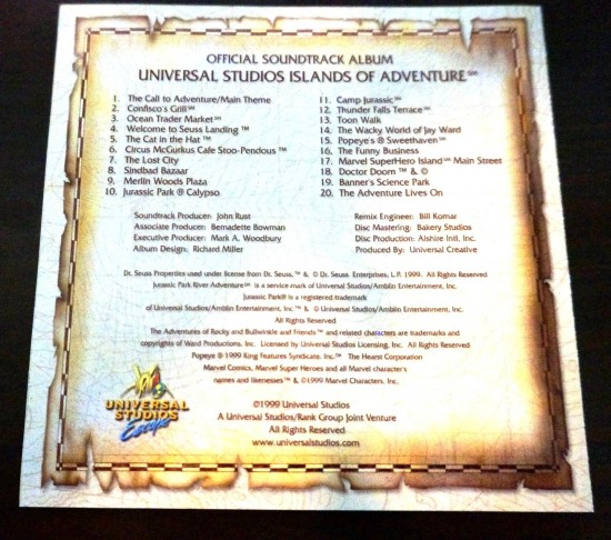 Universal's Islands of Adventure: The soundtrack.
