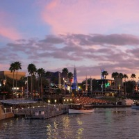 Universal CityWalk at dusk.