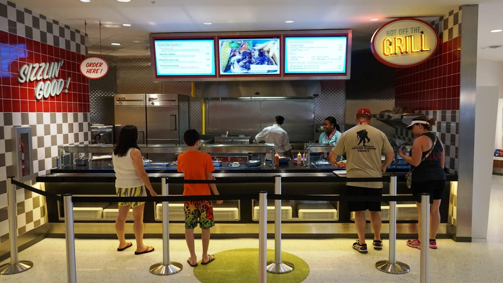 Hot food counter at Bayliner Diner, Cabana Bay Beach Resort