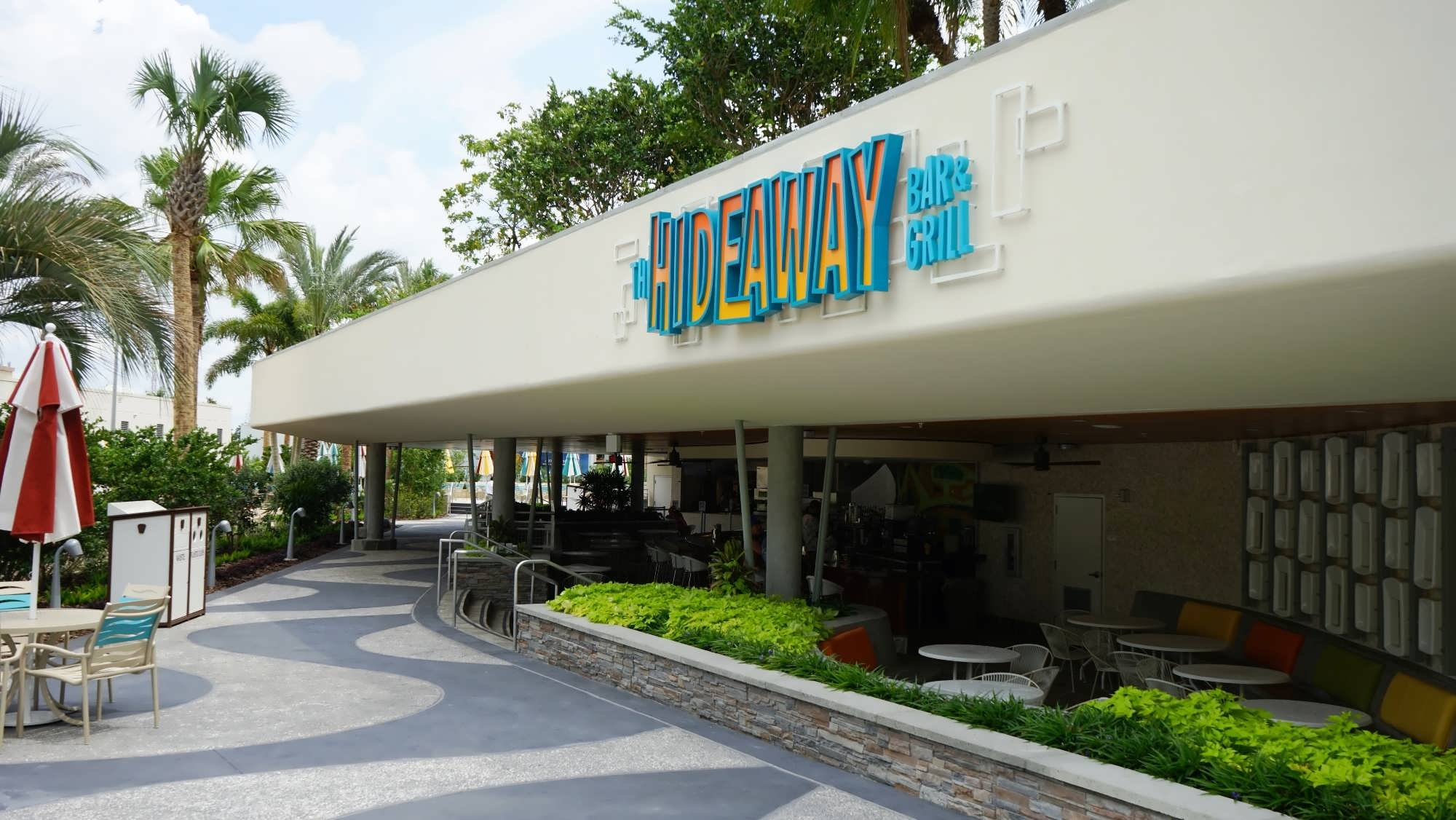 The split-level entrance to the Hideaway Bar and Grill
