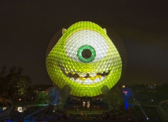 "Spaceship Earth Transforms into ""Monsters University"" Star Mike Wazowski."