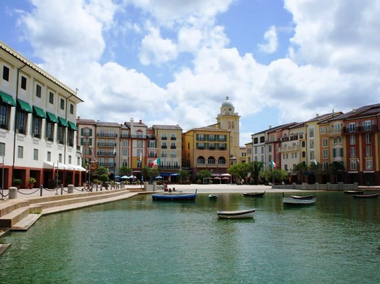The Harbor Piazza at Loews Portofino Bay Hotel.