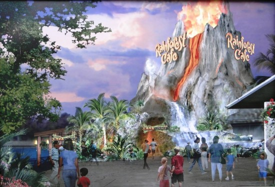 Concept art for the remodeled Rainforest Cafe.
