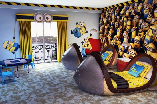Despicable Me kids suites at Loews Portofino Bay Hotel.