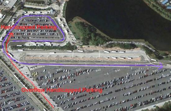 Handicapped parking at Disney's Hollywood Studios.