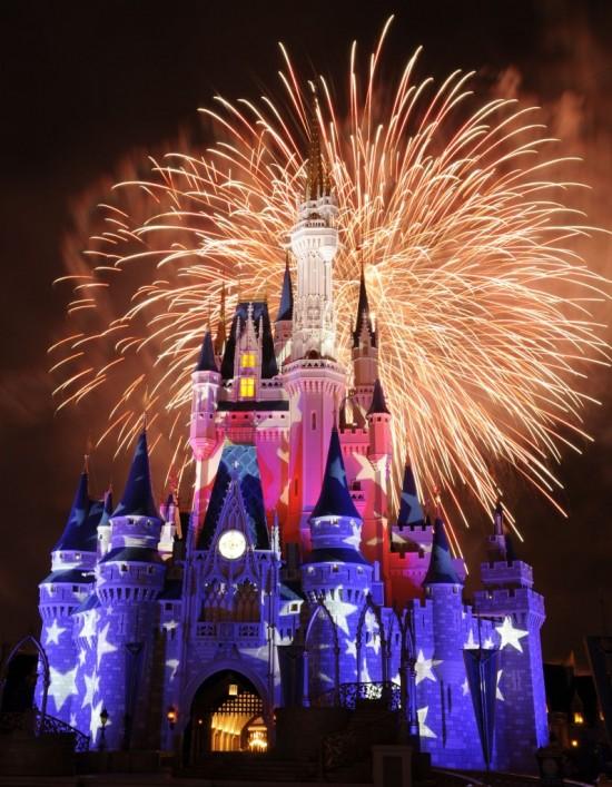 Disney lights up the night.