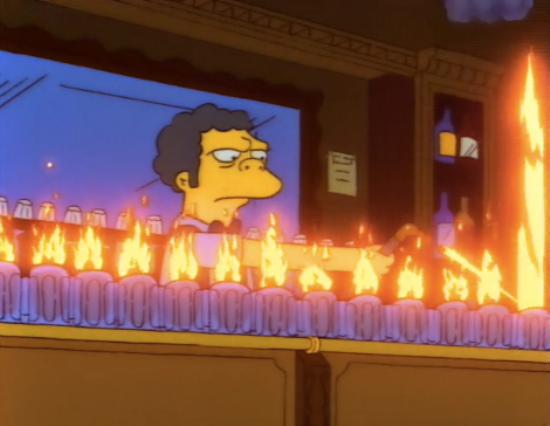 Flaming Moes as seen on The Simpsons TV series.