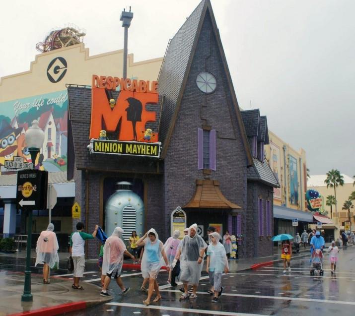 Rain at Universal Orlando.