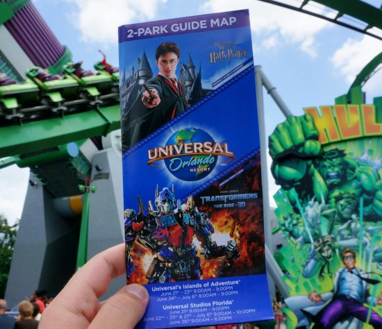 The new Universal in-park guide map featuring Transformers.