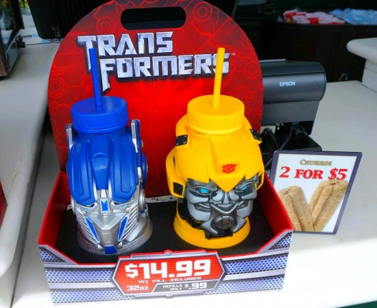 Transformers souvenir cups can be refilled for 99 cents.