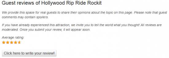 Example of the review area for Hollywood Rip Ride Rockit.