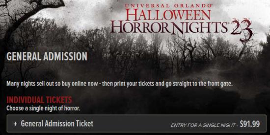 Halloween Horror Nights 2013 online ticket sales.