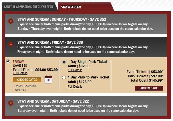 HHN 2013 Stay & Scream tickets