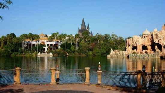 Hogwarts Castle as seen from across the IOA lagoon.