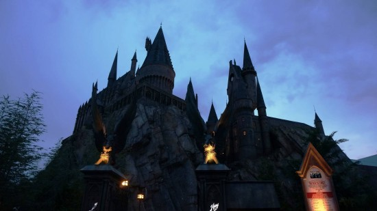 IOA's Hogwarts Castle at night.