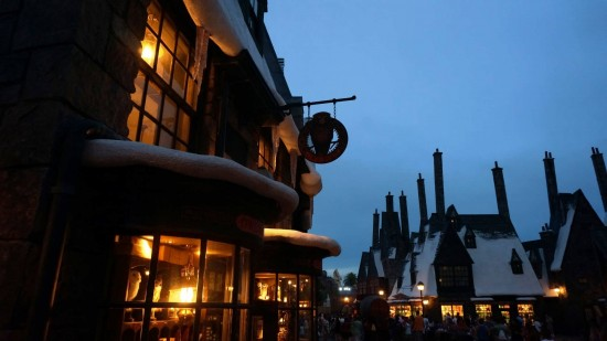 Owl Post and other shops inside the Wizarding World.