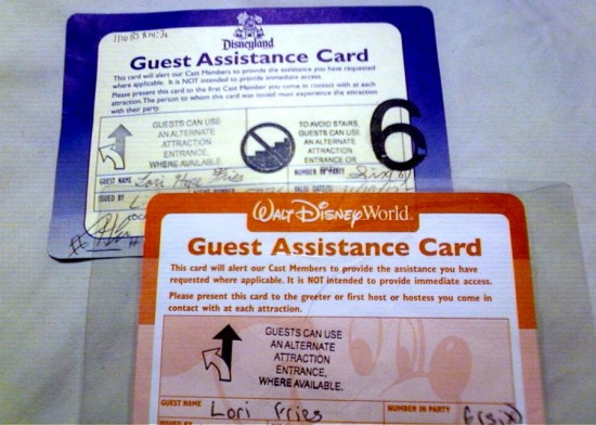 Guest Assistance Cards at Disneyland & Disney World.