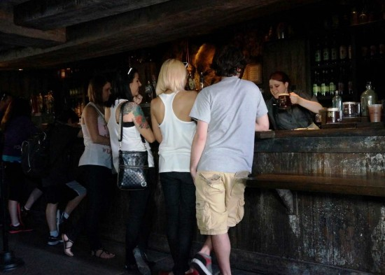 Short line for butterbeer at Hogs Head.