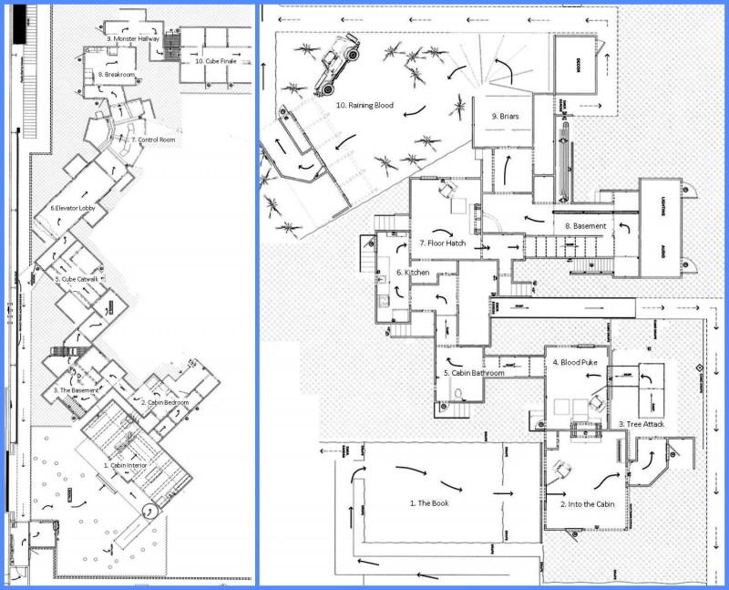 HHN 23: Cabin in the Woods & Evil Dead blueprints.