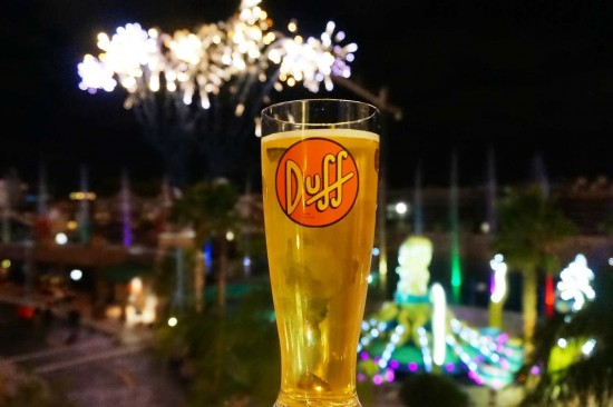 Ending the night at USF with a Duff beer.
