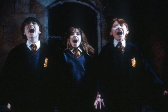 The Potter gang screaming.