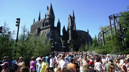 Crowds inside the original Wizarding World of Harry Potter.