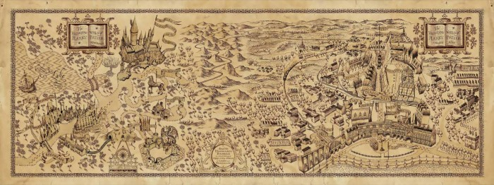 Map: Wizarding Worlds of Harry Potter.