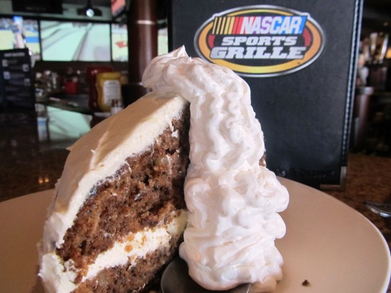 "NASCAR Sports Grille's ""King"" Carrot Cake."