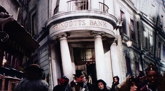 Gringotts Bank as it appears in the Harry Potter films.