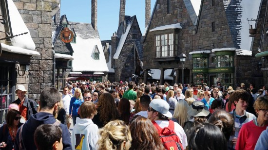 Spring Break 2014 crowds inside Hogsmeade.