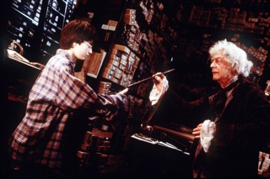 Harry and Ollivander.