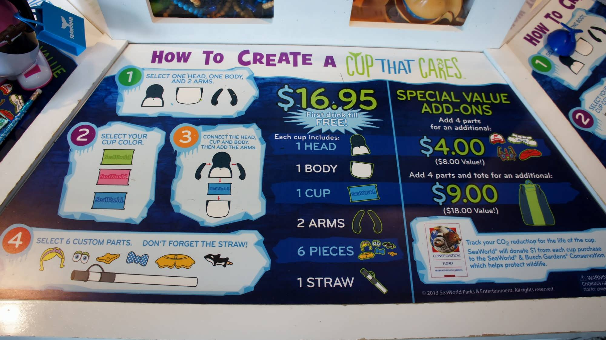 How to save on SeaWorld dining Refillable cups popcorn buckets – Busch Gardens Dining Plan