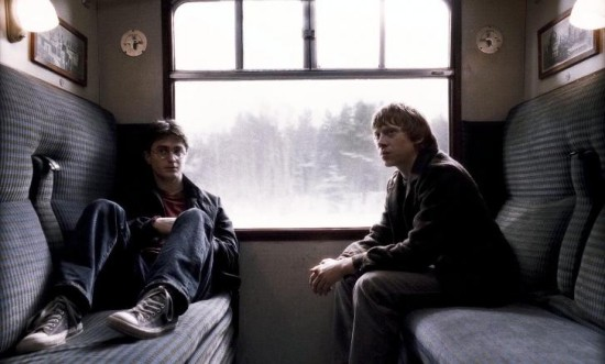 Harry and Ron on the Hogwarts Express.