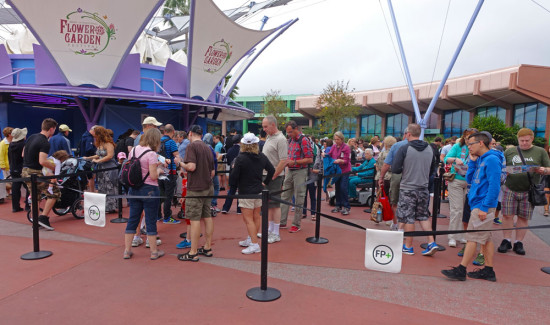 Line for the FastPass+ kiosks at Epcot.