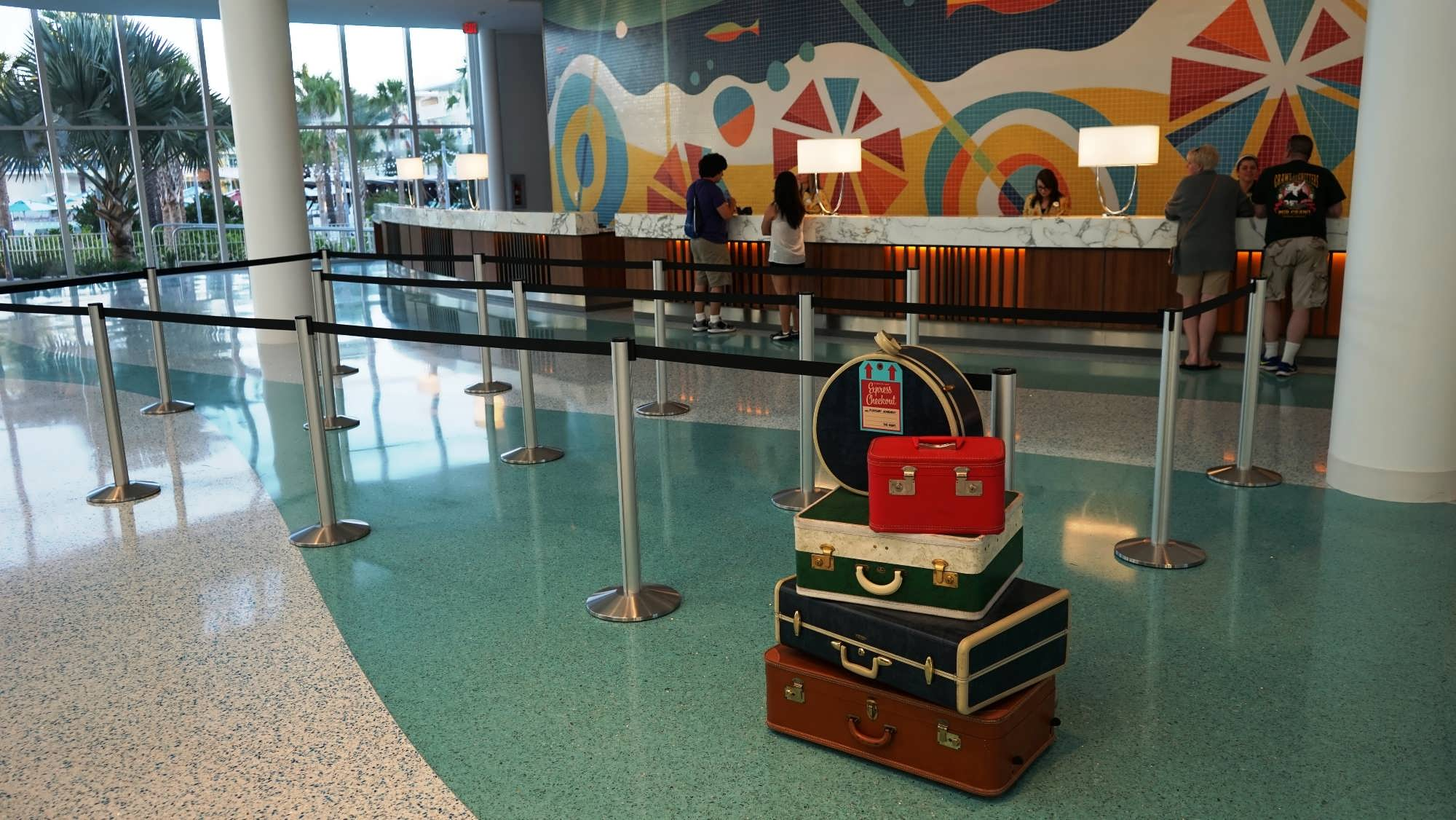 The check-in area at Cabana Bay