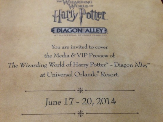 Media invite to a sneak peek of the Wizarding World of Harry Potter - Diaogn Alley