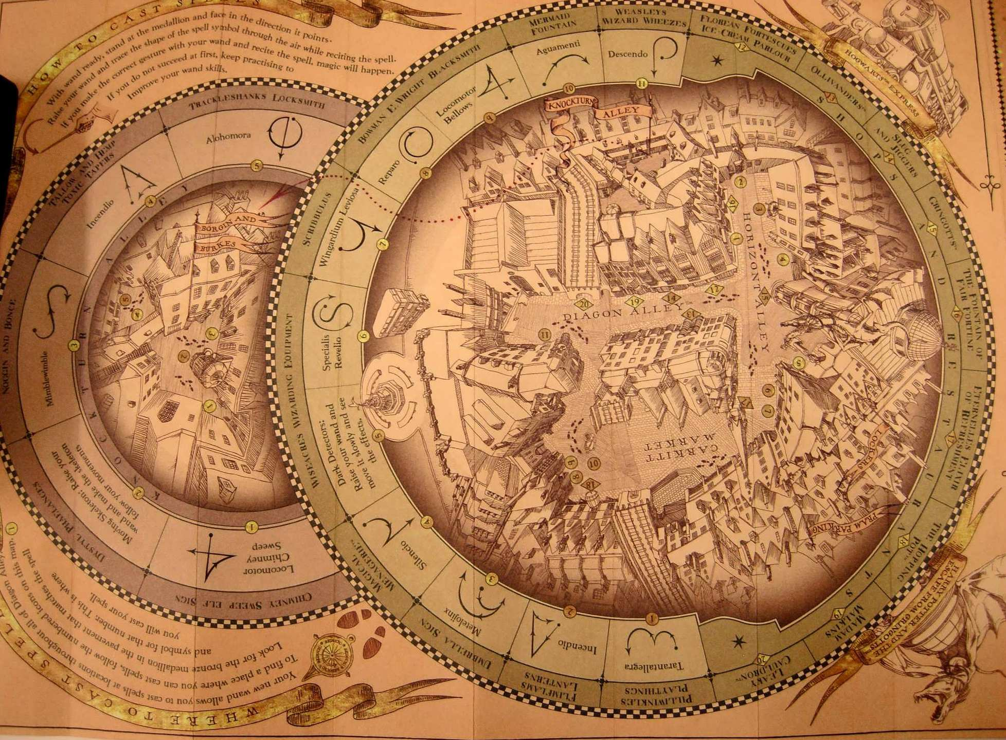 The spell-casting map for Diagon Alley that comes with the purchase of a wand