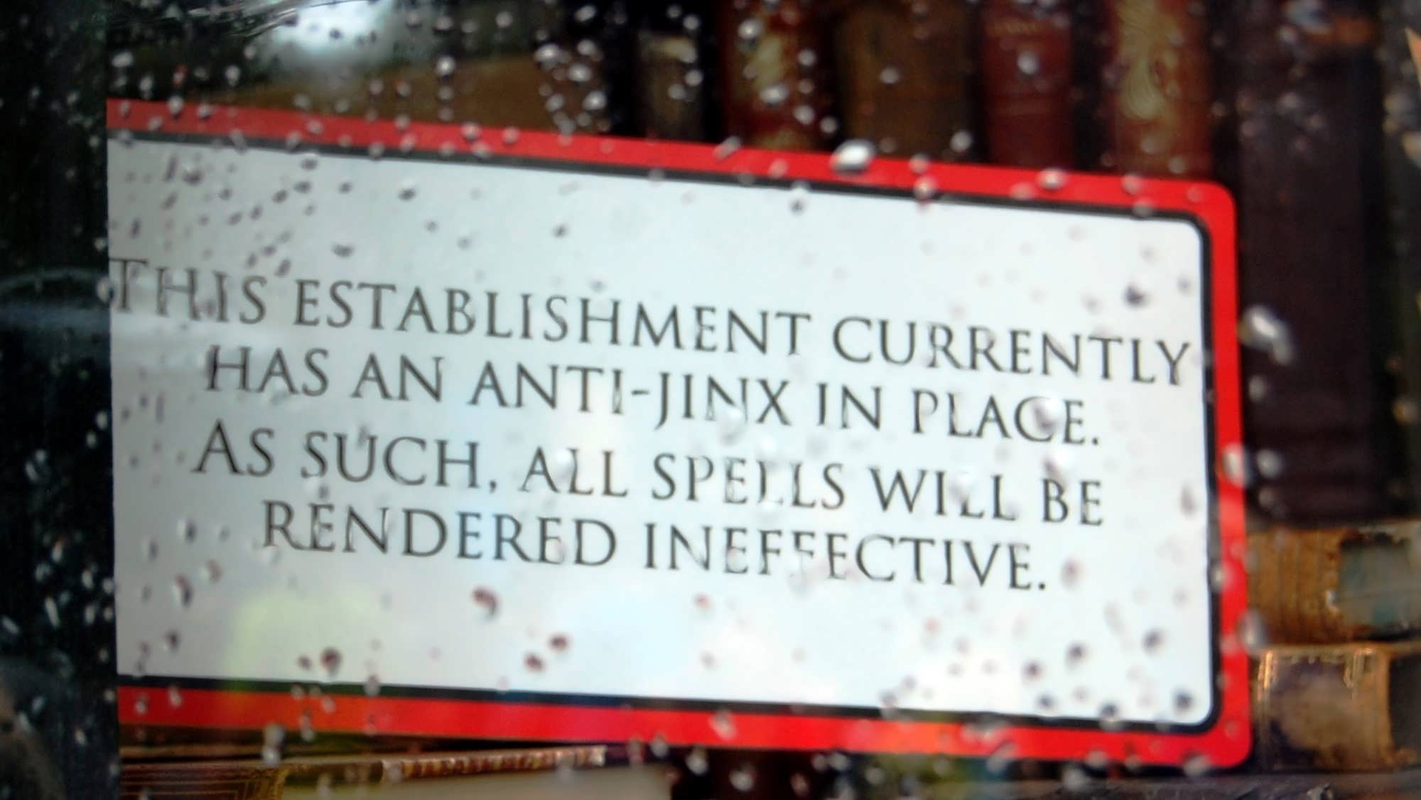 An anti-jinx sign