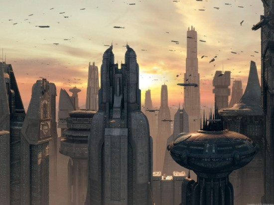 Coruscant, from the Star Wars prequel trilogy.