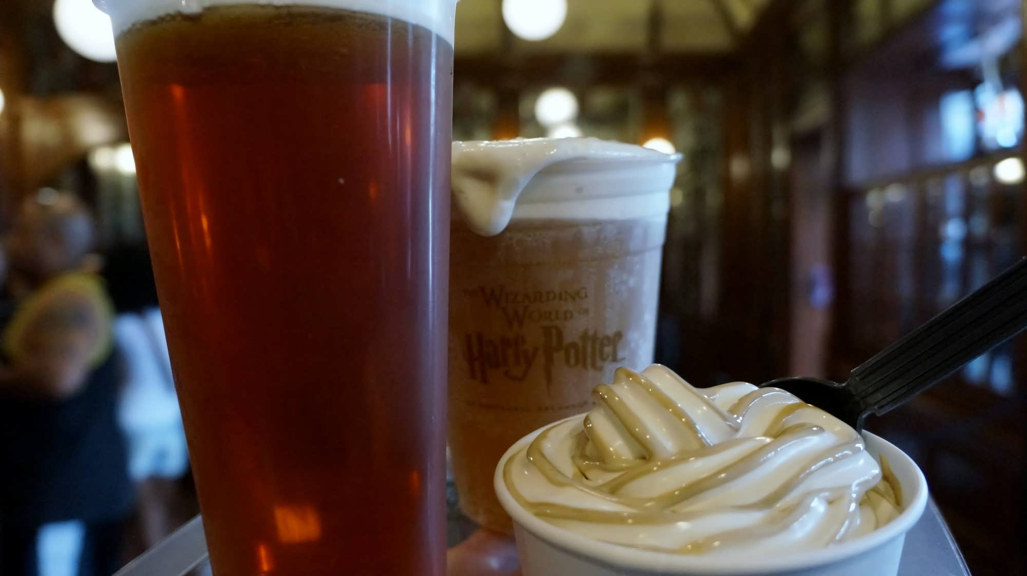 Creating your own Butterbeer float in Diagon Alley