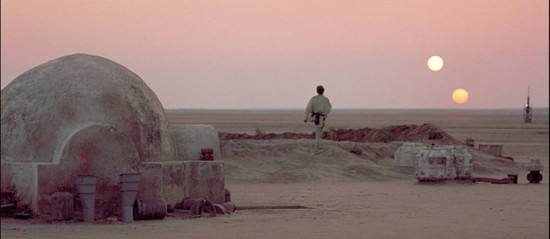 Luke Skywalker on Tatooine, from Episode IV: A New Hope.