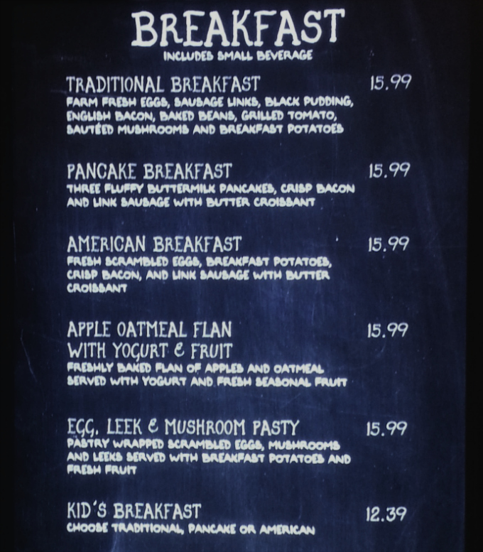 Breakfast menu at the Leaky Cauldron